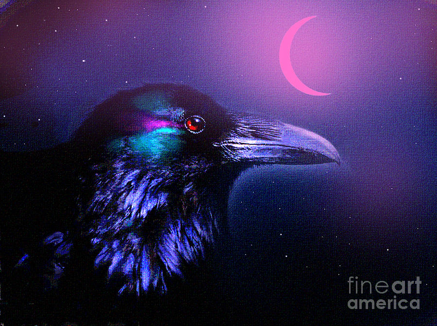 Red Moon Raven Painting