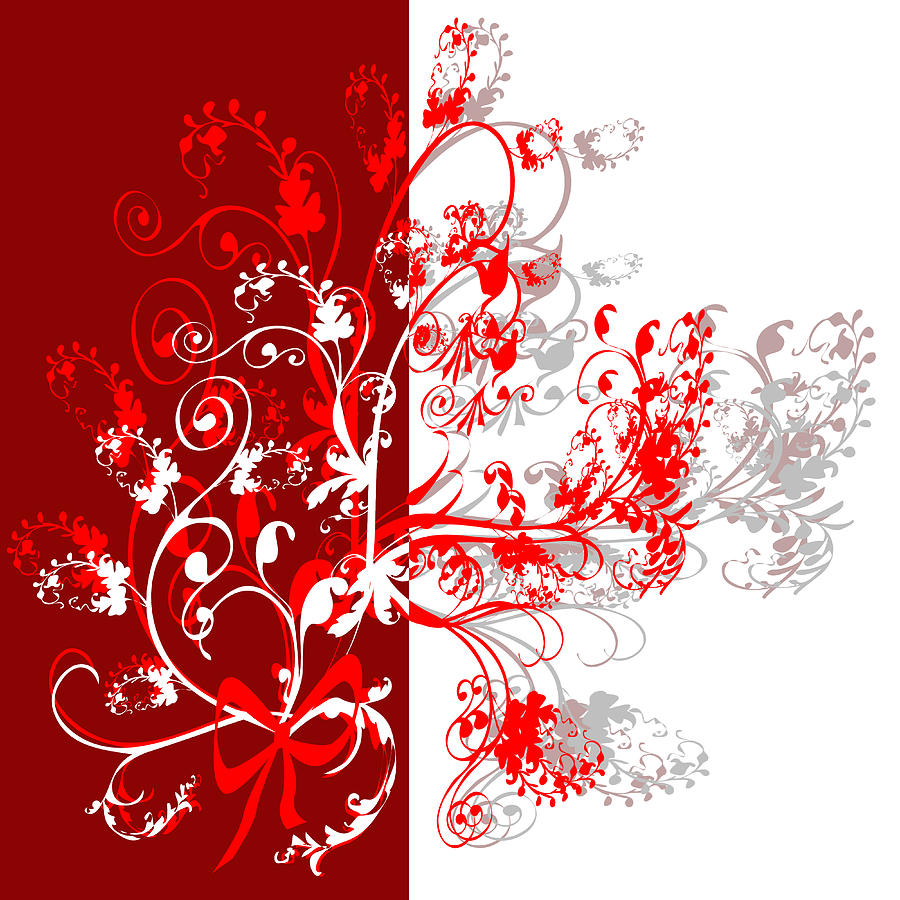 Red Ornament Digital Art  - Red Ornament Fine Art Print