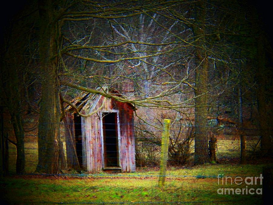 Red Outhouse Photograph  - Red Outhouse Fine Art Print