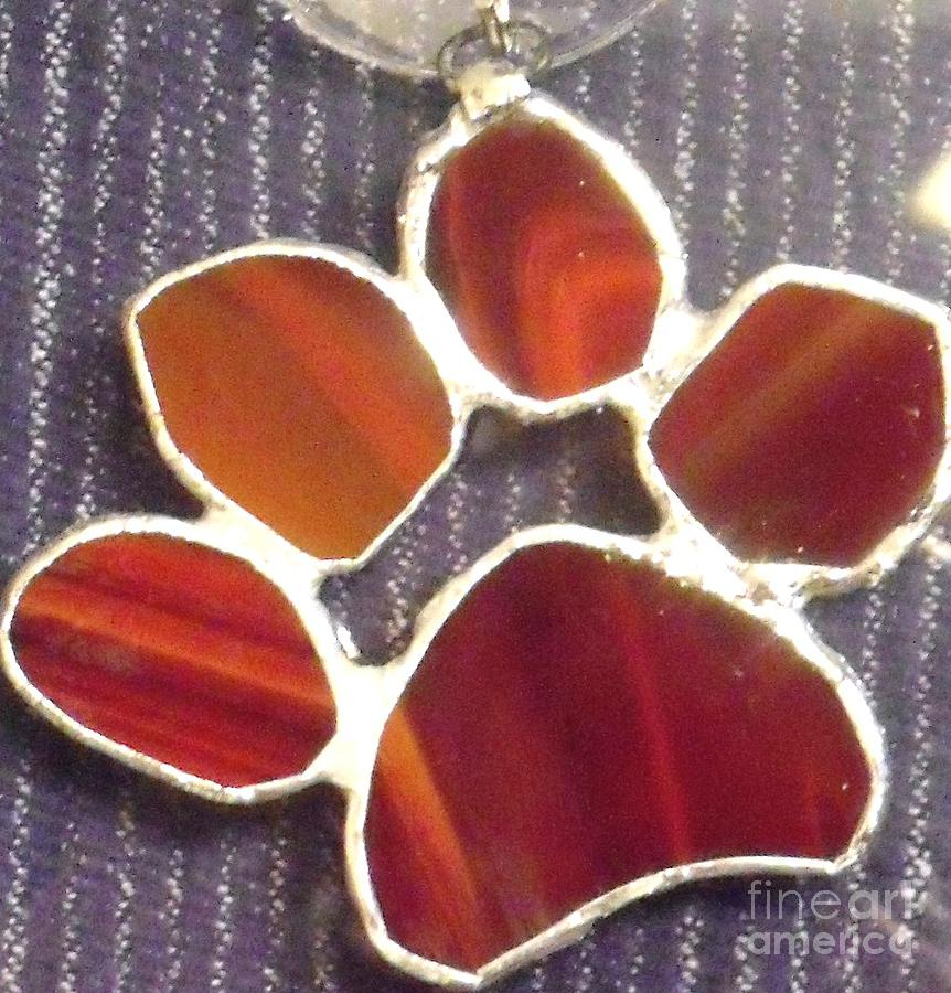 Red Paw  Glass Art