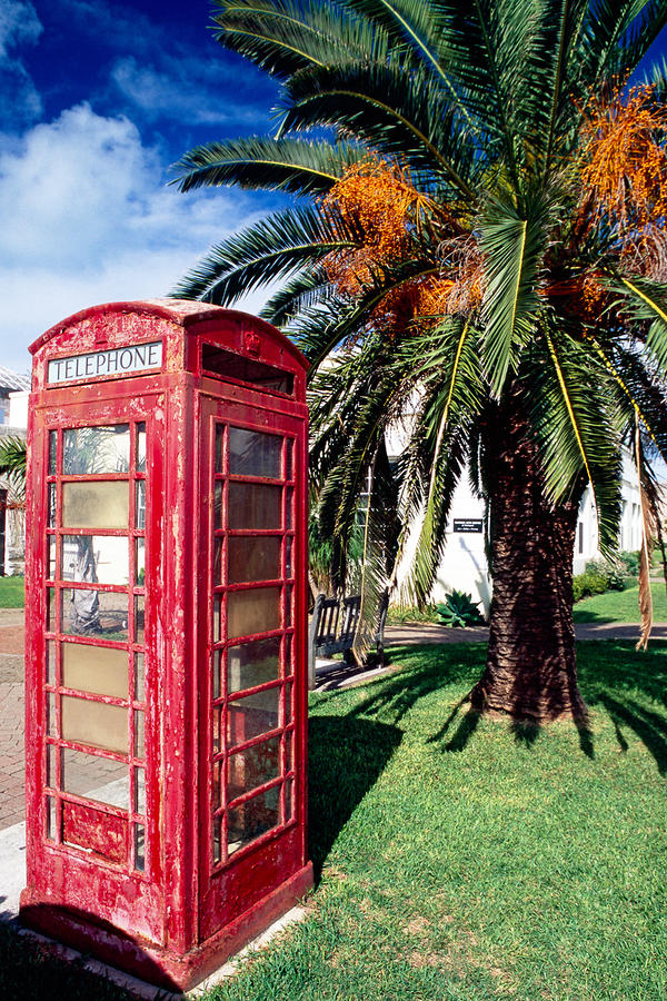 Red Phone Booth Bermuda Photograph  - Red Phone Booth Bermuda Fine Art Print