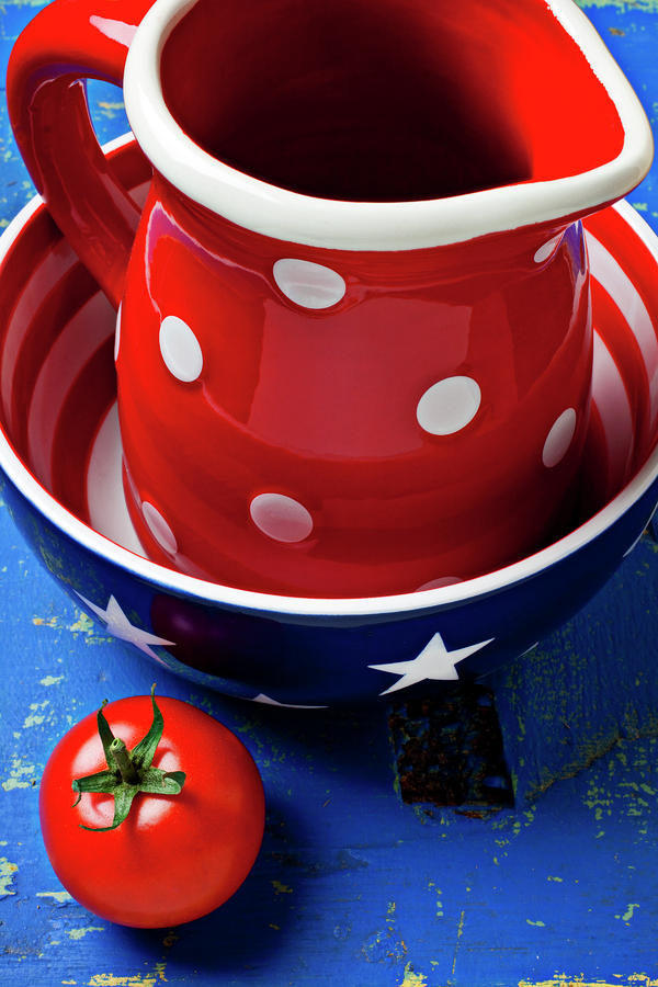 Red Pitcher And Tomato Photograph