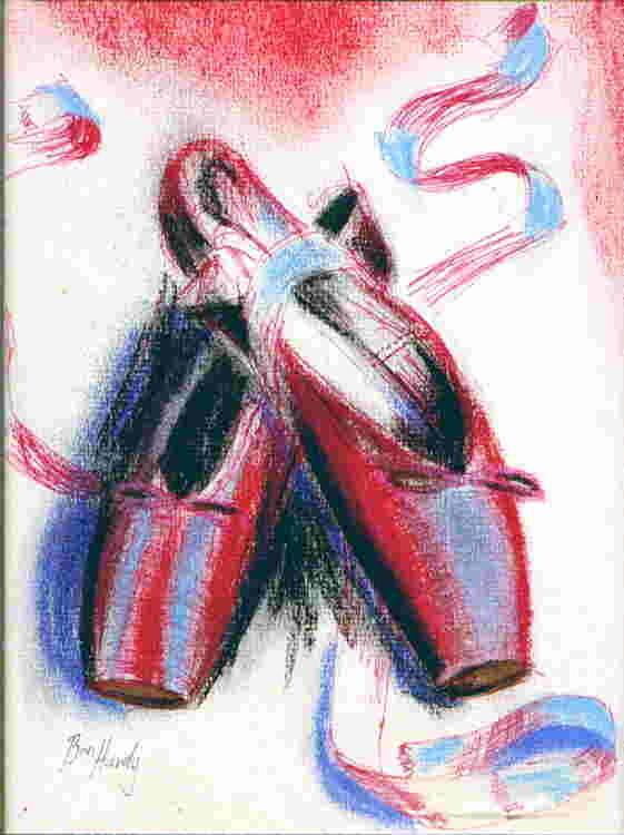 Red Pointe Shoes On White In Blue Light Pastel