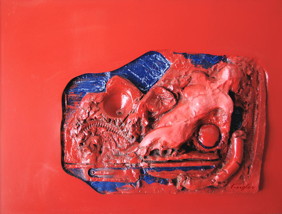Red Relief Sculpture