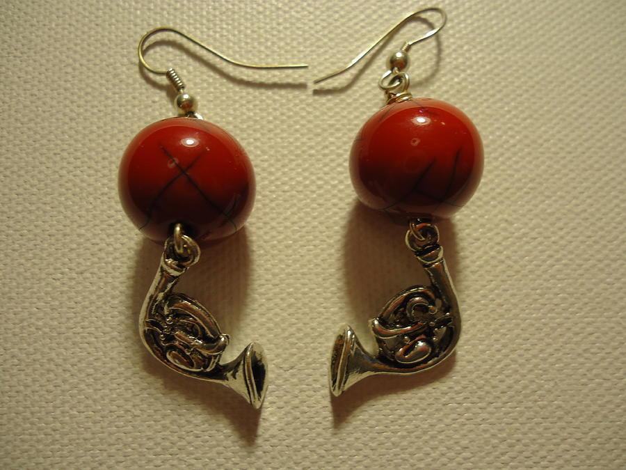 Red Rocker French Horn Earrings Photograph