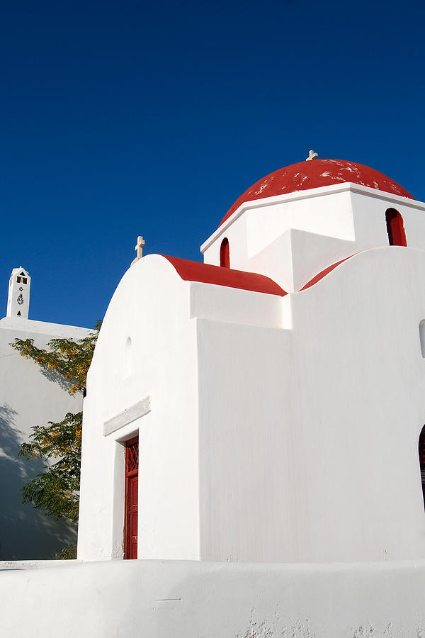 Red Roof Greek Church Digital Art  - Red Roof Greek Church Fine Art Print
