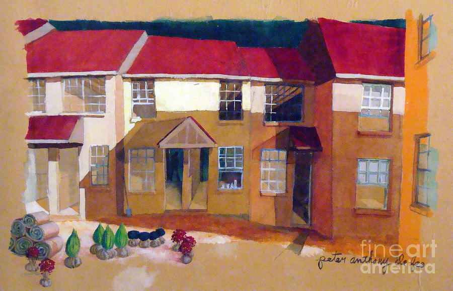 Red Roof Houses Painting
