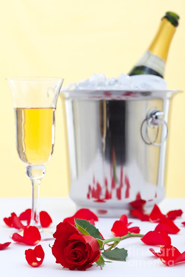 Red Rose And Champagne Photograph  - Red Rose And Champagne Fine Art Print