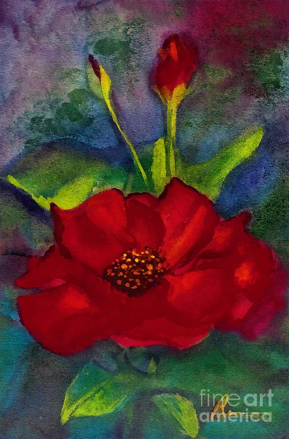 Red Rose In The Moonlight Painting  - Red Rose In The Moonlight Fine Art Print