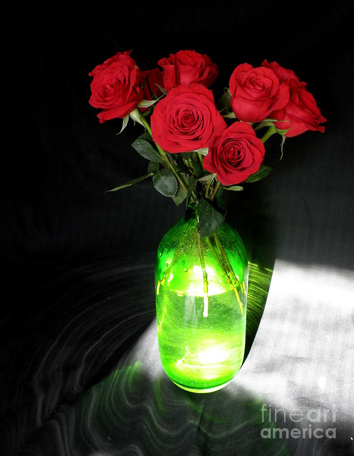 Red Roses In Green Vase Photograph  - Red Roses In Green Vase Fine Art Print