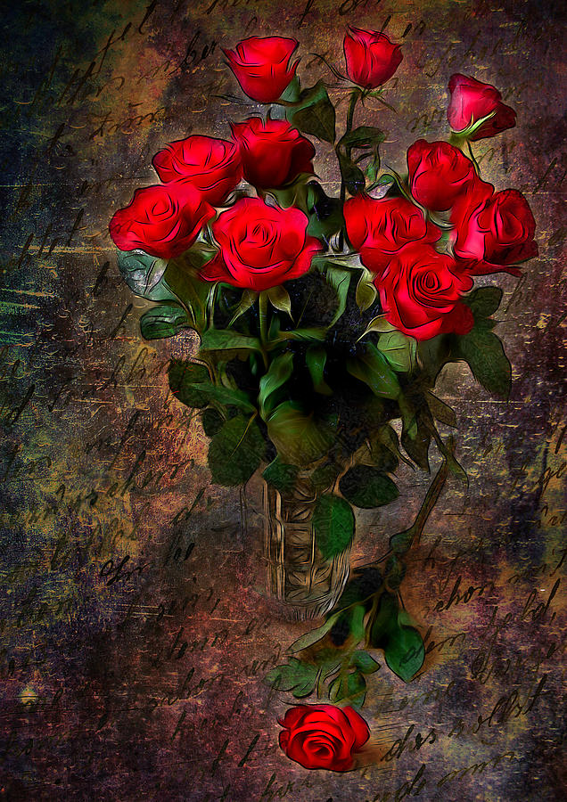 Red Roses Digital Art  - Red Roses Fine Art Print