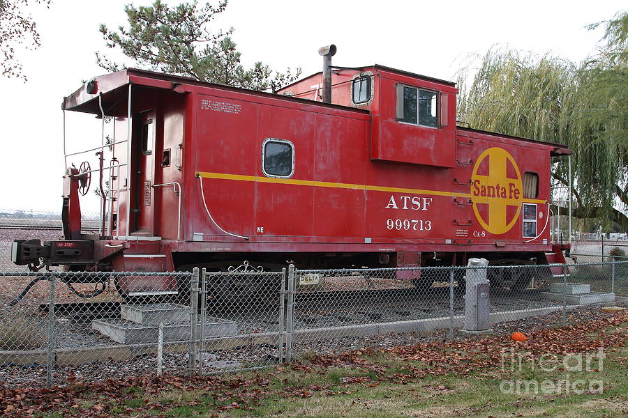 Red Sante Fe Caboose Train . 7d10329 Photograph  - Red Sante Fe Caboose Train . 7d10329 Fine Art Print