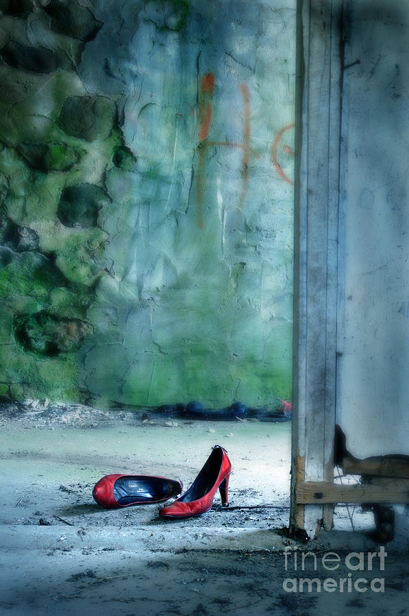 Red Shoes In Abandoned Building Photograph