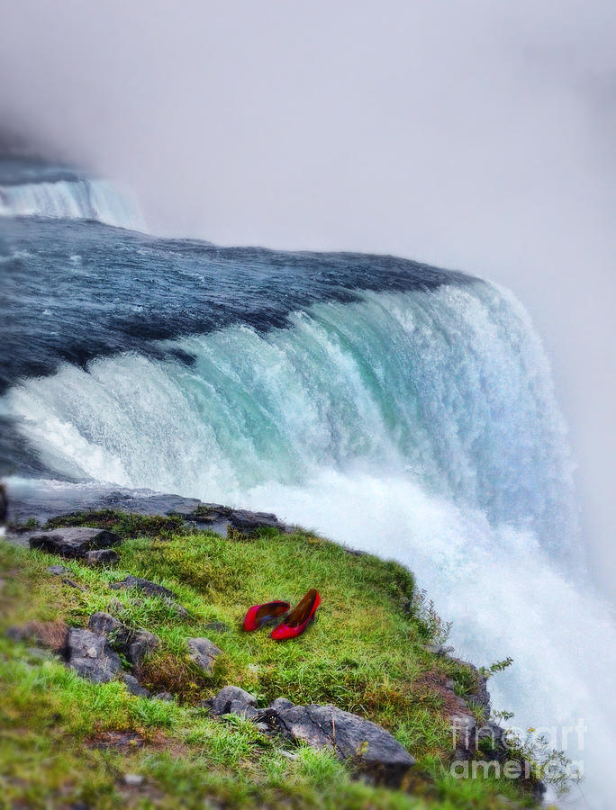 Red Shoes Left By The Falls Photograph