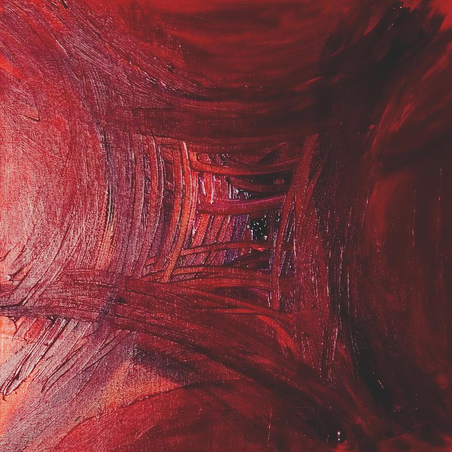 Red Skewed Squares Painting