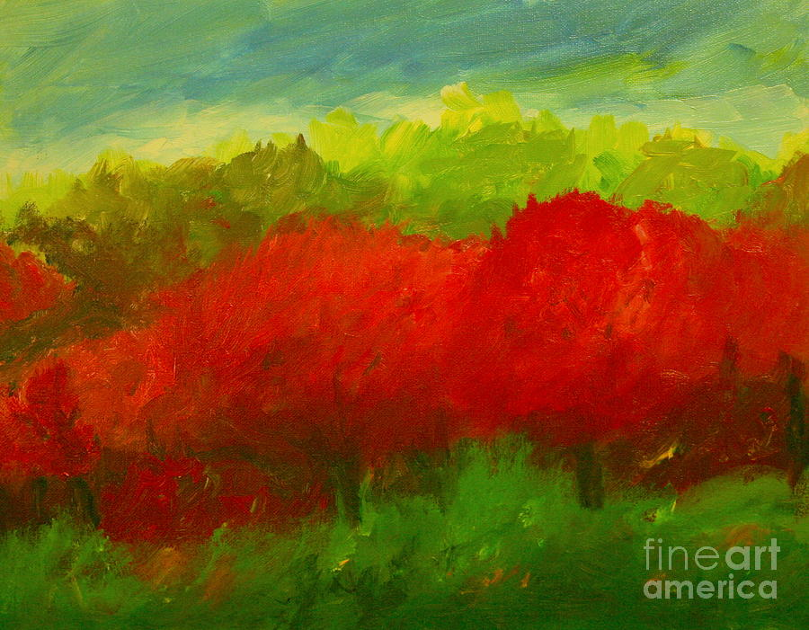Red Sweet Cherry Trees Painting  - Red Sweet Cherry Trees Fine Art Print