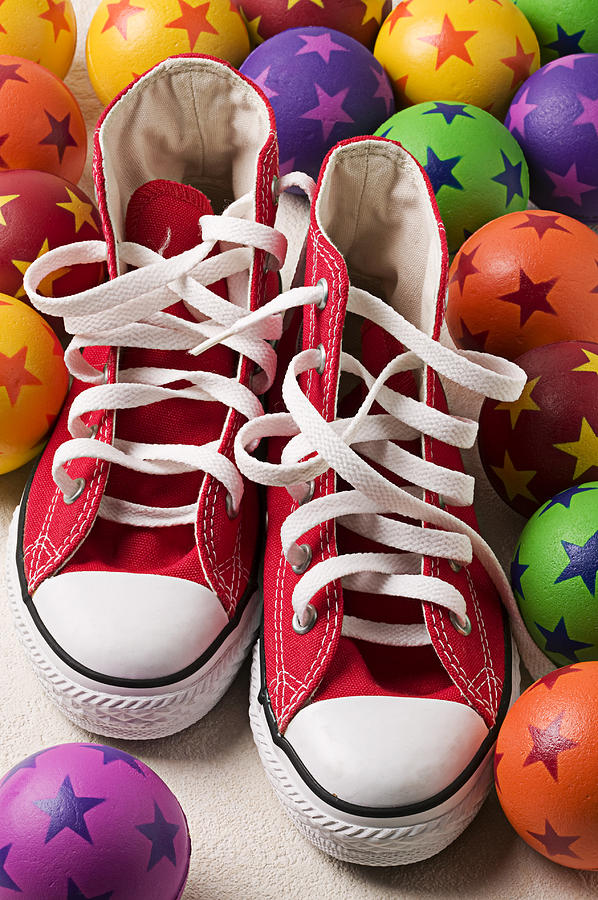 Red Tennis Shoes And Balls Photograph  - Red Tennis Shoes And Balls Fine Art Print