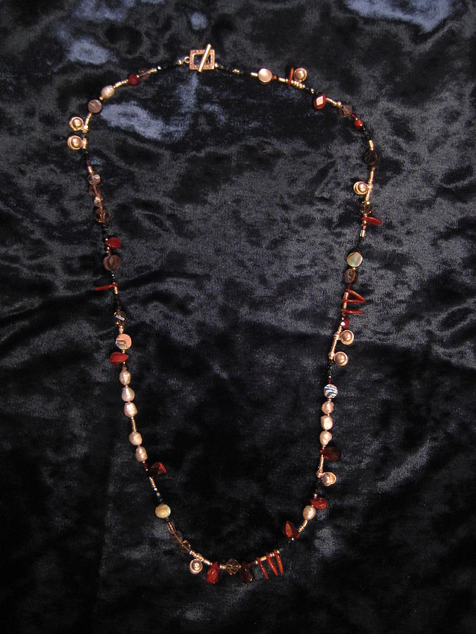 Red Tiger Eye And Bell Pearl Necklace Jewelry