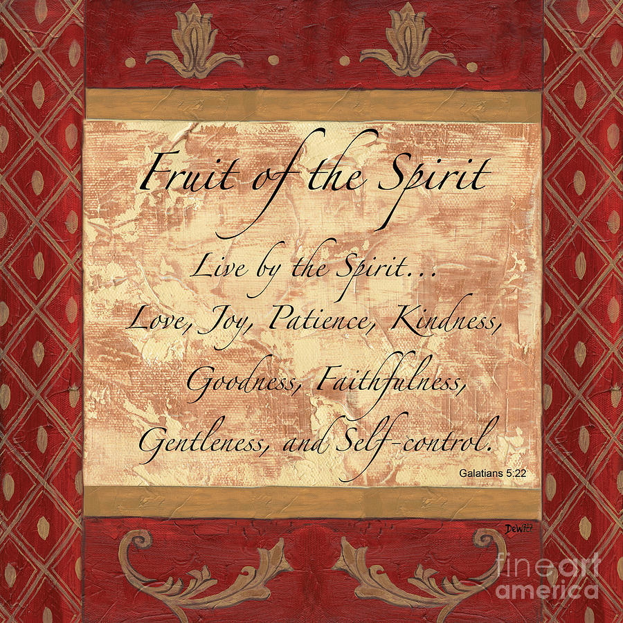 Red Traditional Fruit Of The Spirit Painting  - Red Traditional Fruit Of The Spirit Fine Art Print
