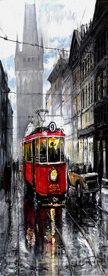 Red Tram Mixed Media
