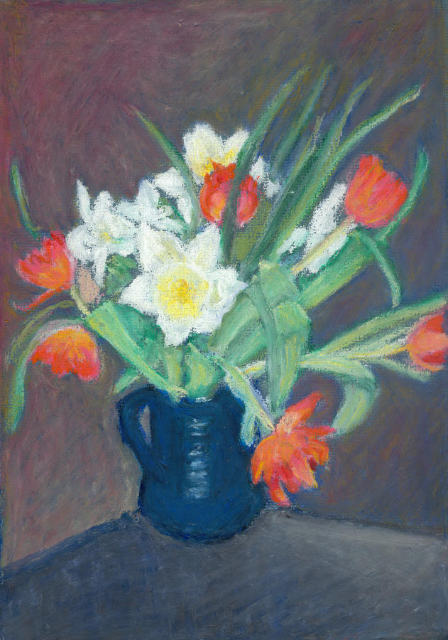 Red Tulips And Daffodils Pastel  - Red Tulips And Daffodils Fine Art Print