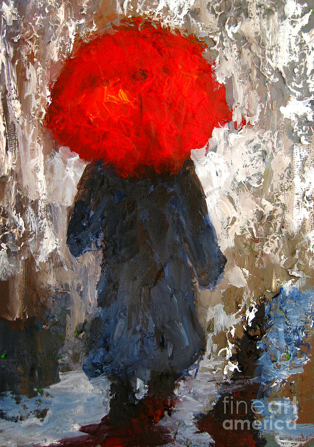Red umbrella under the rain painting by patricia awapara for Painting red umbrella