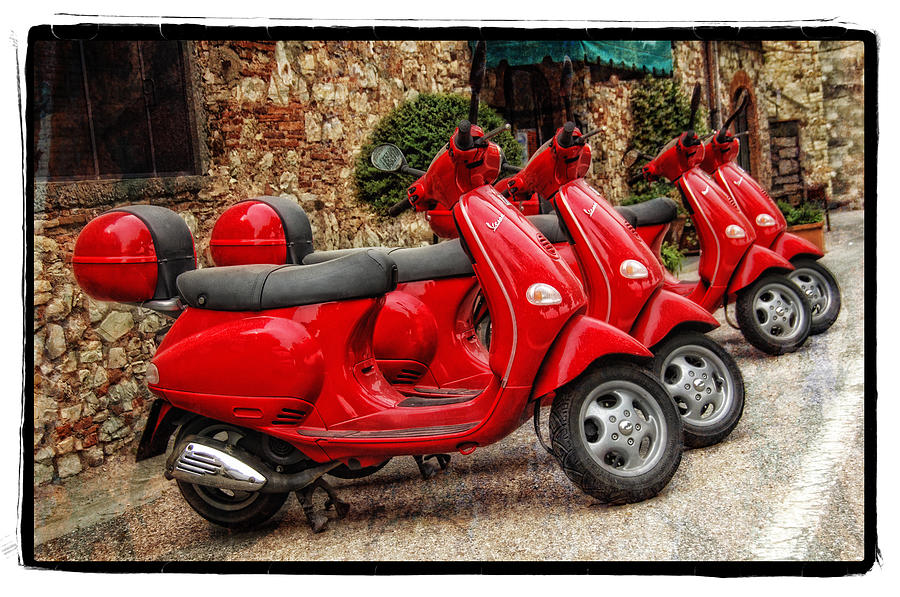 Red Vespas Pyrography  - Red Vespas Fine Art Print