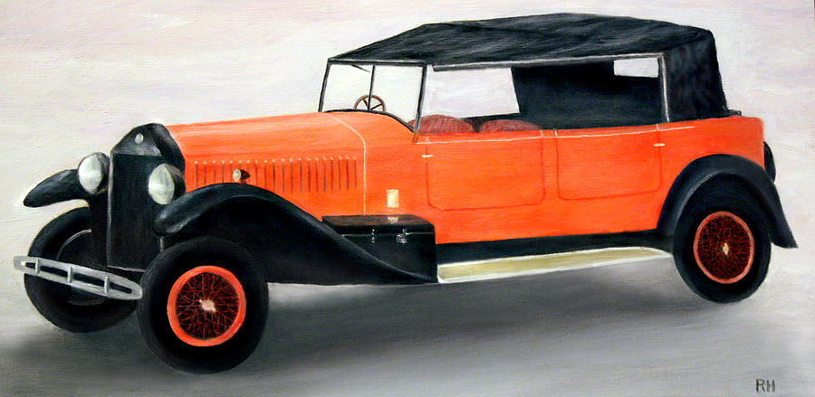 Red Vintage Car Painting  - Red Vintage Car Fine Art Print