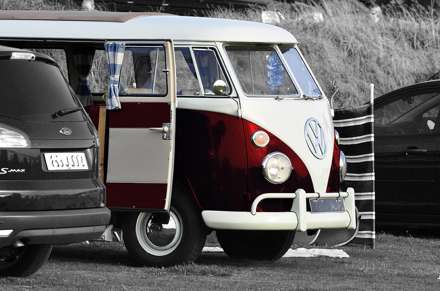 Red Vw Camper Photograph  - Red Vw Camper Fine Art Print