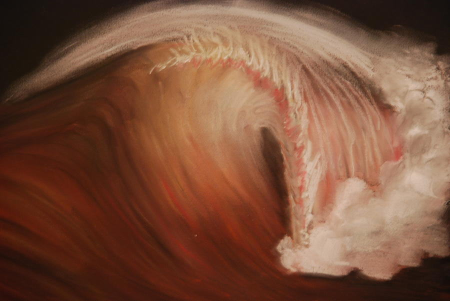 Red Wave Pastel  - Red Wave Fine Art Print
