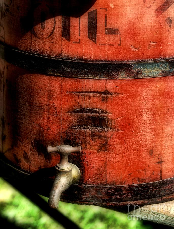 Red Weathered Wooden Bucket Photograph