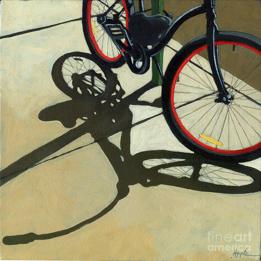Red Wheels - Bicycle Art Oil Painting Painting  - Red Wheels - Bicycle Art Oil Painting Fine Art Print