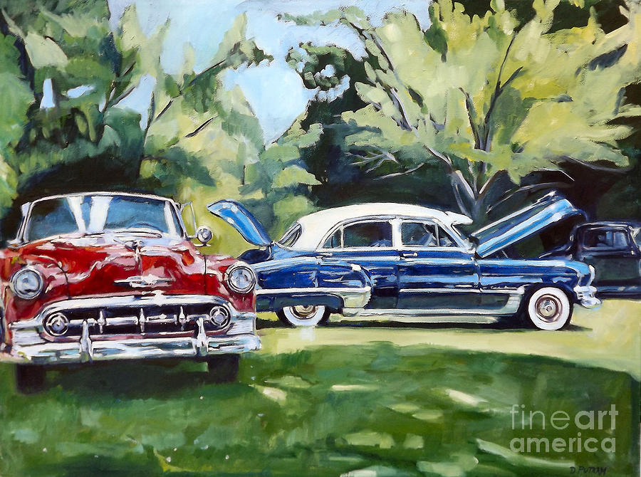 Cars Painting - Red White And Blue by Deb Putnam