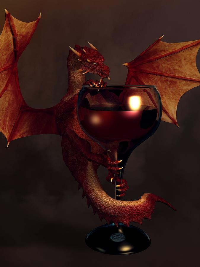 Red Wine Dragon Digital Art  - Red Wine Dragon Fine Art Print