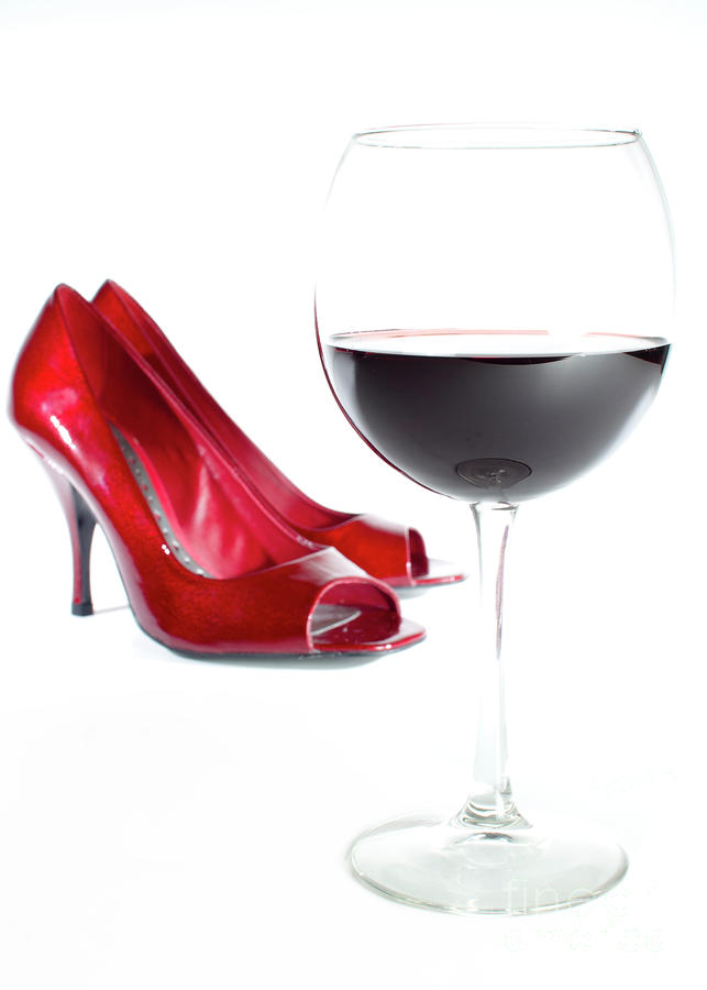 Red Wine Glass Red Shoes Photograph