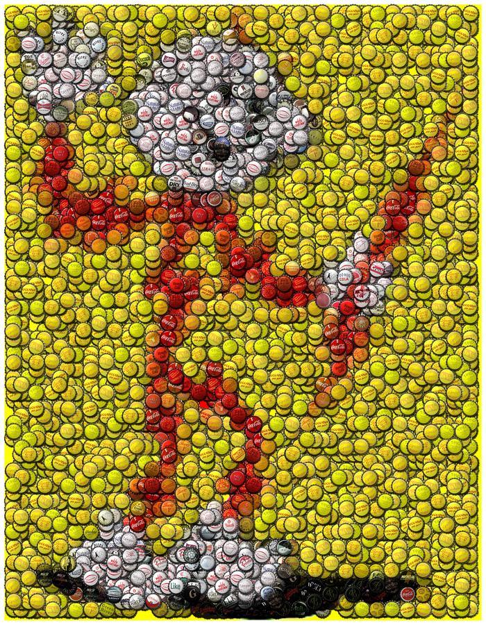 Electric Digital Art - Reddy Kilowatt Bottle Cap Mosaic by Paul Van Scott