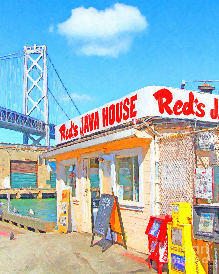 Reds Java House And The Bay Bridge At San Francisco Embarcadero Photograph  - Reds Java House And The Bay Bridge At San Francisco Embarcadero Fine Art Print
