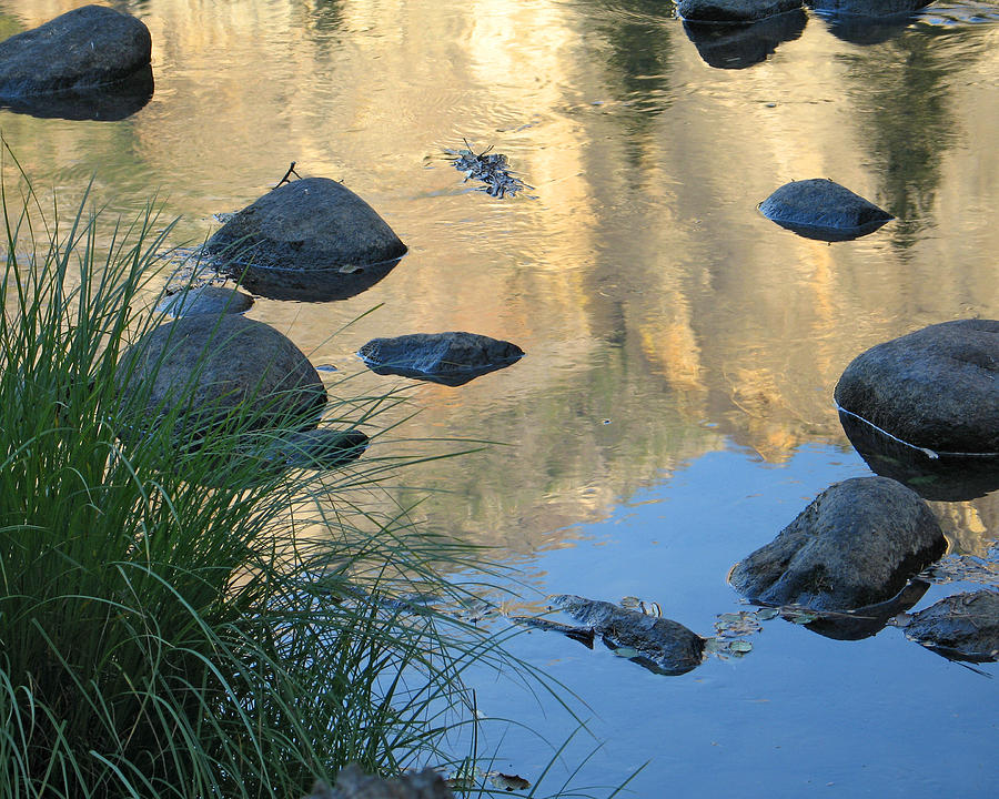 Reflecting Peaks In The Merced River Photograph  - Reflecting Peaks In The Merced River Fine Art Print