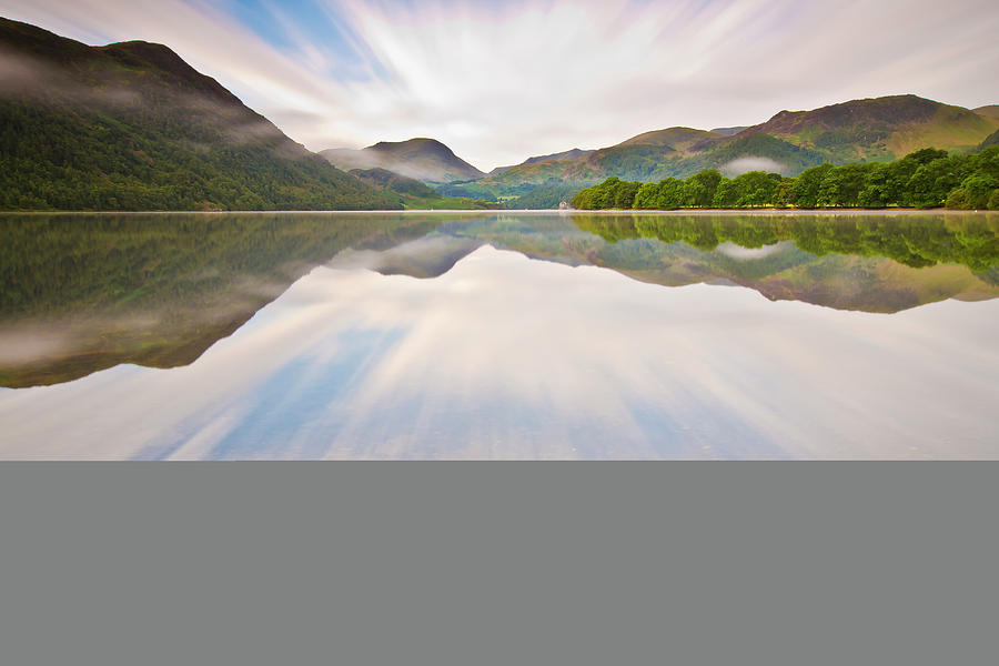 Horizontal Photograph - Reflection Of Mountains And Trees On Lake by John Ormerod