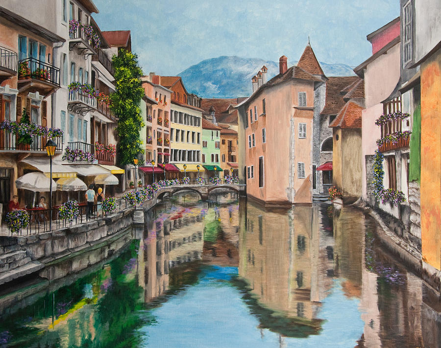 Reflections Of Annecy Painting  - Reflections Of Annecy Fine Art Print