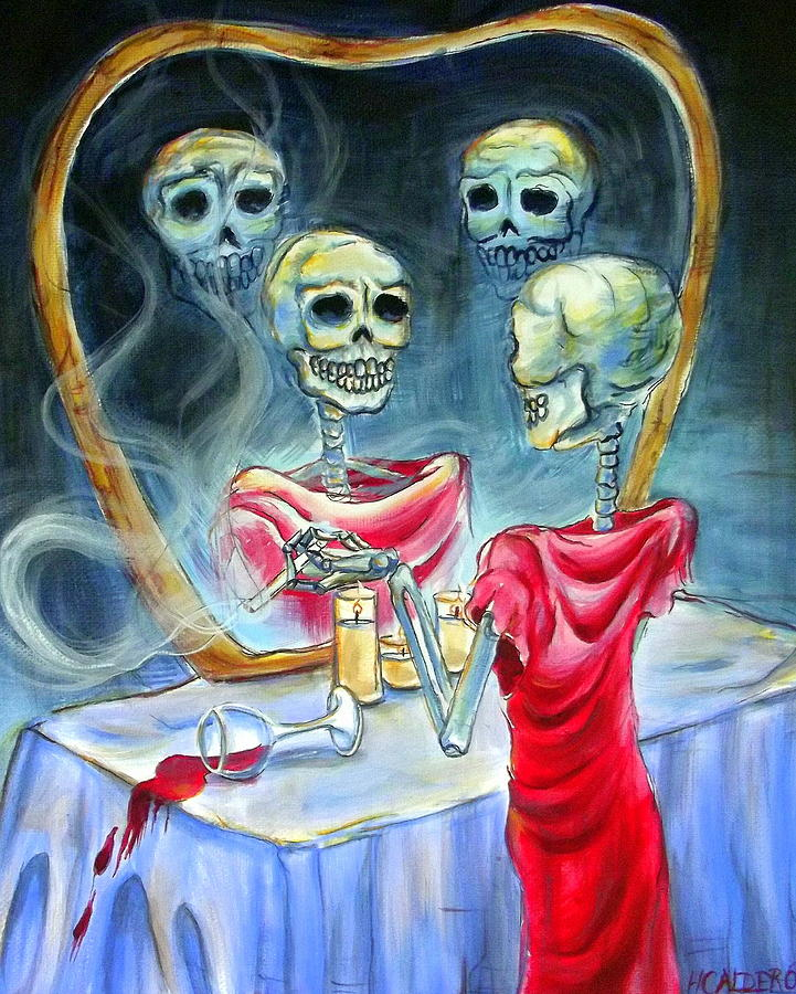 Day Of The Dead Painting - Reflexion by Heather Calderon