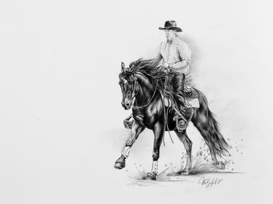 Reining Drawing  - Reining Fine Art Print