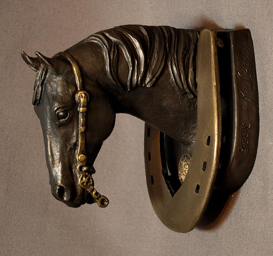Reining Horse Bronze Door Knocker Sculpture Sculpture
