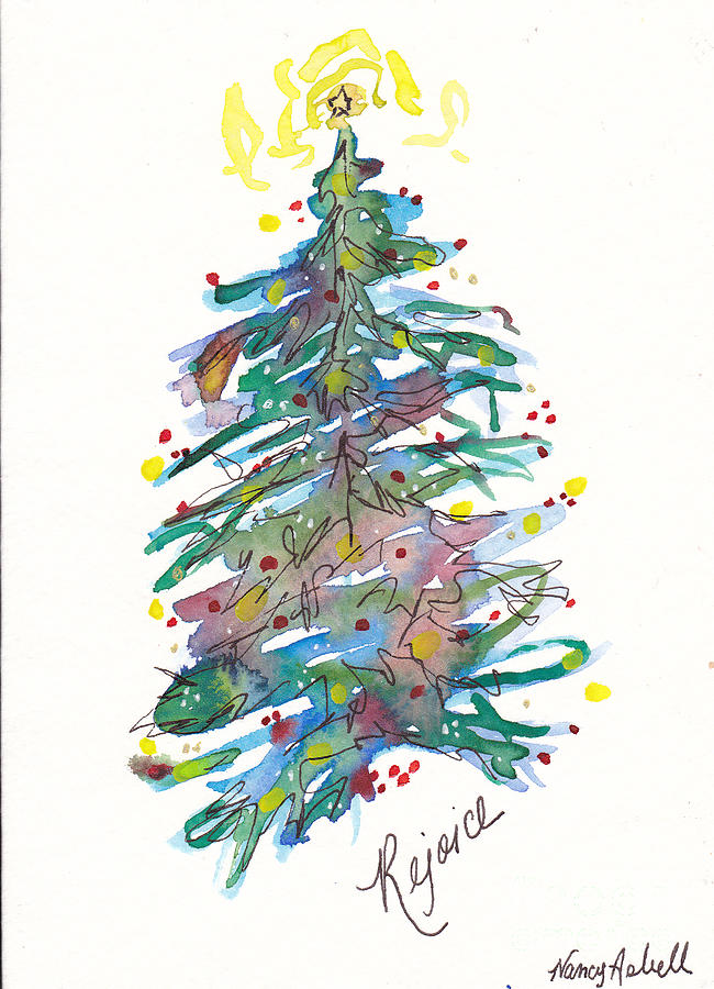 Rejoice christmas tree painting by michele hollister for