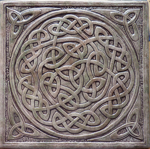Relief carved celtic knot tile by shannon gresham