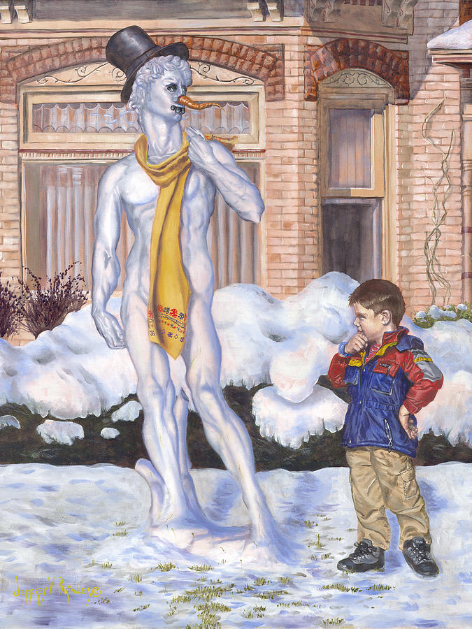 Renaissance Snowman Painting
