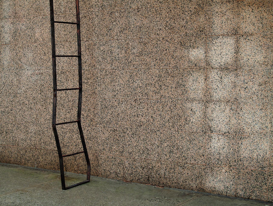 Exterior Wall Ladders : Repetitive square patterns of ladder and exterior wall by