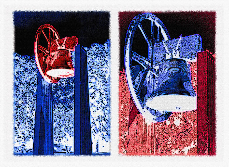 Replica Of Liberty Bell - Americana Rwb Diptych - Inverted Photograph  - Replica Of Liberty Bell - Americana Rwb Diptych - Inverted Fine Art Print