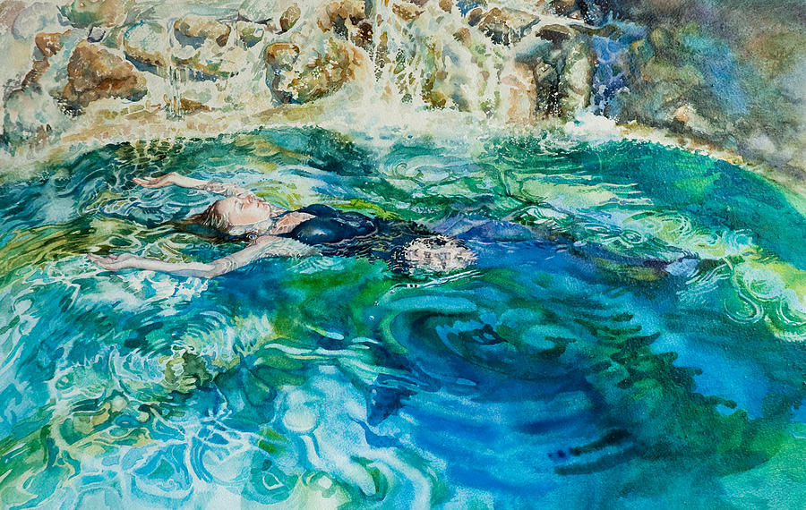 Repose In A Pool In France Painting  - Repose In A Pool In France Fine Art Print
