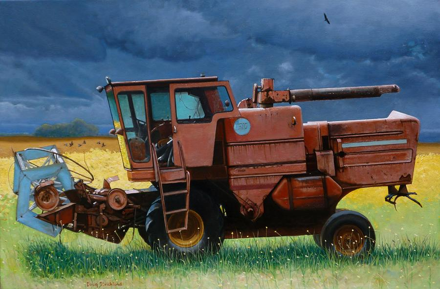 Retired Combine Awaiting A Storm Painting  - Retired Combine Awaiting A Storm Fine Art Print